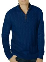 Club Room Mens Sweater Blue Size Small S 1/2 Zip Cable Knit Pullover $65 199
