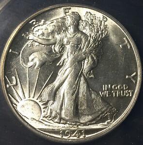 Choice BU 1941-S Walking Liberty Half Dollar, Untoned ANACS MS 64, Great Strike