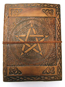 Pentacle leather cord journal travel Book of Shadows Gothic notebook wicca Pagan