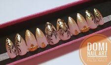 Hand Painted False Nails Flowers Nail Art Gold Ombre Gems Stiletto Coffin