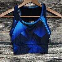 Athleta Women's Sz XS Athletic Sports Bra Keyhole Racer Back Yoga Black/Blue -J3