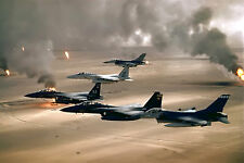8x12 Photo USAF aircraft-4th Fighter Wing F-16, F-15C and F-15E fly over Kuwait