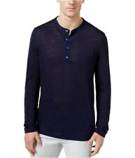 Tasso Elba Men's 100% Linen Marled Henley Shirt, Blue Notte, Size XL, MSRP $75