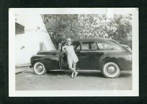 Vintage Photo Pretty Girl w/ 1941 Chrysler Wig Wam Car T P Motel 434074