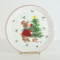 "Mikasa Christmas Plate Teddy Bear Trim The Tree Santas Cookies CC009 Japan 8"""