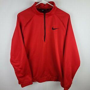 Nike Dri-Fit Men's 1/4 Zip Pullover Sweatshirt Red Embroidered Black Logo Sz XL