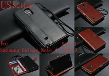 Leather Wallet Card Holder Flip Stand Case Cover Samsung Galaxy Note 2 3