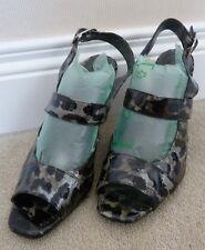 Carl Scarpa Montiuari Black Grey Patent Leather Leopard Print Sandals EU 40 UK 7