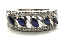 Sterling Silver 925 Diagonal Marquise Blue Sapphire Diamond Pave Cocktail Ring 7