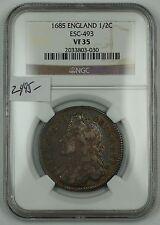 1685 England Half Crown 1/2C Silver Coin ESC-493 NGC VF-35 AKR