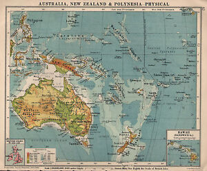 1934 MAP ~ AUSTRALIA NEW ZEALAND & POLYNESIA PHYSICAL ~ INSET HAWAII SANDWICH