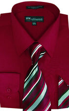 New Men's Dress Shirt Set with Tie + Handkerchief Long Sleeve Fortino SG21A