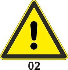 5x 10cm WZ-02 Warnzeichen  vor einer Gefahrenstelle  Aufkleber Warnung