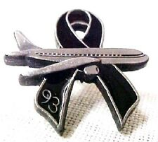 Jet Flight 93 Black Ribbon Lapel Pin 9-11-01 Memory Ribbon Remembrance Tac New