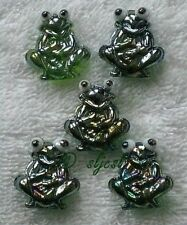 Discontinued * GREEN GLASS FROGS 5 gems GLASS shapes Mosaic TILE TILES