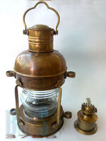 "MARINE BRASS NAUTICAL SHIP LANTEN, SHIP LAMP/ LANTERN, 14"" SAFETY LAMP"