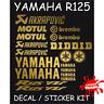 YAMAHA YZF R125 STICKER DECALS GOLD VINYL CLASSIC LOOK
