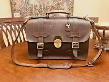 S. AMERICAN Heavy Saddle Leather Briefcase / Messenger Bag / Satchel