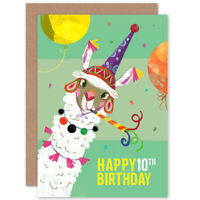 Llama Party 10th Birthday Blank Greeting Card With Envelope