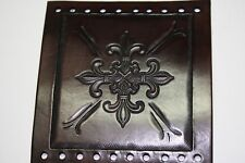 New Custom Leather Hand Tooled Fleur De Lis Motorcycle Grip Cover Set
