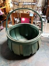 Vintage Woven Wooden Slats Round Handled Basket Green