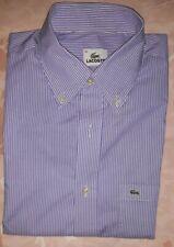 Camicia botton down LACOSTE in cotone, a righine bianche e lilla, collo 40
