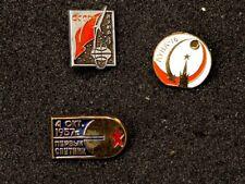 USSR, Russian Soviet Space Research Program Propaganda 3 Pin Badges Mixed Set