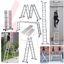 Keraiz® Multi Function Silver 4.75M 4x4Aluminium Foldable Extension Ladder Step