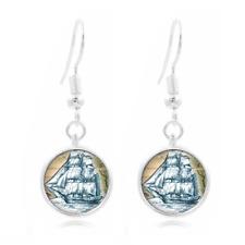 Sea ship Navy glass Frea Earrings Art Photo Tibet silver Earring Jewelry #495