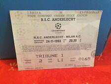 Football Ticket - Champion's League RSCA Anderlecht - Milan AC - 1993