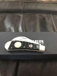 TREE BRAND BOKER BLACK JIGGED BONE LINEMANS HAWKBILL POCKET KNIFE NEW OLD STOCK