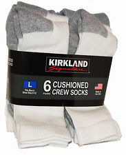 Mens Crew Socks 6 Pairs  Size Large  8 - 12 Cotton Rich