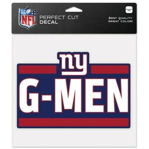 """NEW YORK GIANTS G-MEN 8""""X8"""" COLOR DIE CUT DECAL NEW WINCRAFT"""