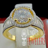 14K YELLOW GOLD FINISH LADIES PRINCESS CUT LAB DIAMOND ENGAGEMENT WEDDING RING