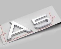 Chrom Silber A5 Emblem Abzeichen Kofferraum Schriftzug Aufkleber Logo für AUDI