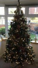 7ft Green Pre-lit Christmas Tree,400 Multifunctional Warm White LED Lights