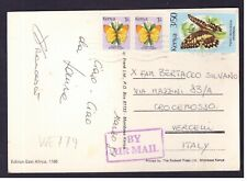 Cartolina Kenya per Italia 5/50 1991 Farfalle Animali WE779