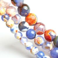 Natural Gemstone Fire Agates Stone Beads Loose Spacer Beads 6MM 8MM 10MM