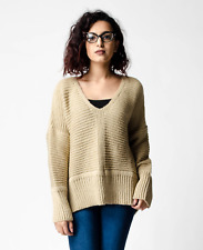 New ex ASOS Stone Fluffy Yarn Oversized Chunky Jumper with V Neck RRP £30 6-18