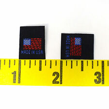 "500 pcs Quality WOVEN SEWING LABELS FLAG ""MADE IN USA"" Black, Fast Shipping@USA"
