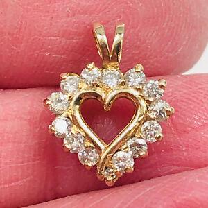 14K Solid Yellow Gold 13 Genuine Diamonds Open Heart Pendant