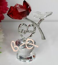 CRYSTAL CUT DIAMANTE LOVE HEART WITH RED ROSE FLOWER HOME DECOR GIFT BOX