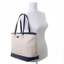 NWT Kate Spade Oliver Canvas Natural Navy Tote Shoulder Bag Purse Handbag New