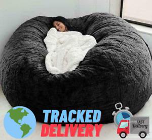 7ft Giant Fur Bean Bag Cover Living Room Furniture Big Round Soft Fluffy ORIGNAL