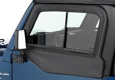 1997-2006 Jeep Wrangler Front Upper Doors Sliding Glass Window Pair Black Denim