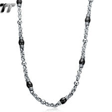 Mens TT 7mm Silver/Black Bead Stainless Steel Chain Necklace (C109SD) NEW