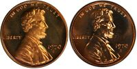 1970 S PROOF Small + Large Date Lincoln Cents - 2 Coin Set