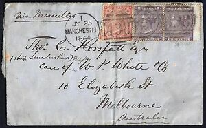 UK GB 1864 MANCHESTER TO MELBOURNE FRANKED SG 82 W/ HAIRLINES & PAIR SG 84 PAIR