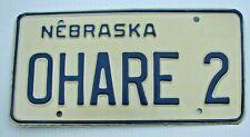 "Nebraska Vanity License Plate "" Ohare 2 "" Chicago International Airport Illinois"