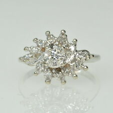Cocktail Cluster Right Hand Estate Ring Vintage 14k White Gold 1/5Cttw Diamond